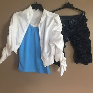 DanceGalaxy costume white jacket/blue tank/pant